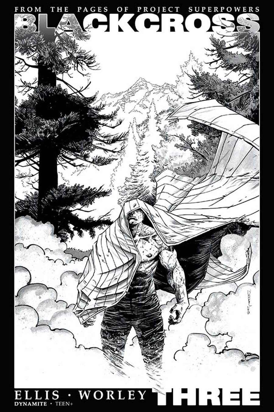 Project Superpowers Blackcross #3 Cover F Incentive Declan Shalvey Black & White Cover