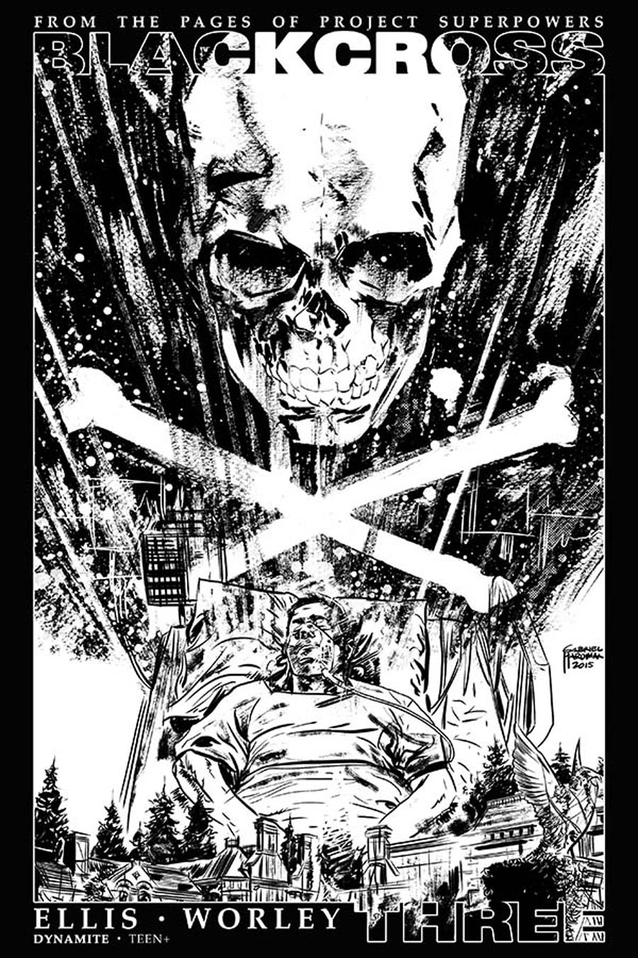 Project Superpowers Blackcross #3 Cover G Incentive Gabriel Hardman Black & White Cover