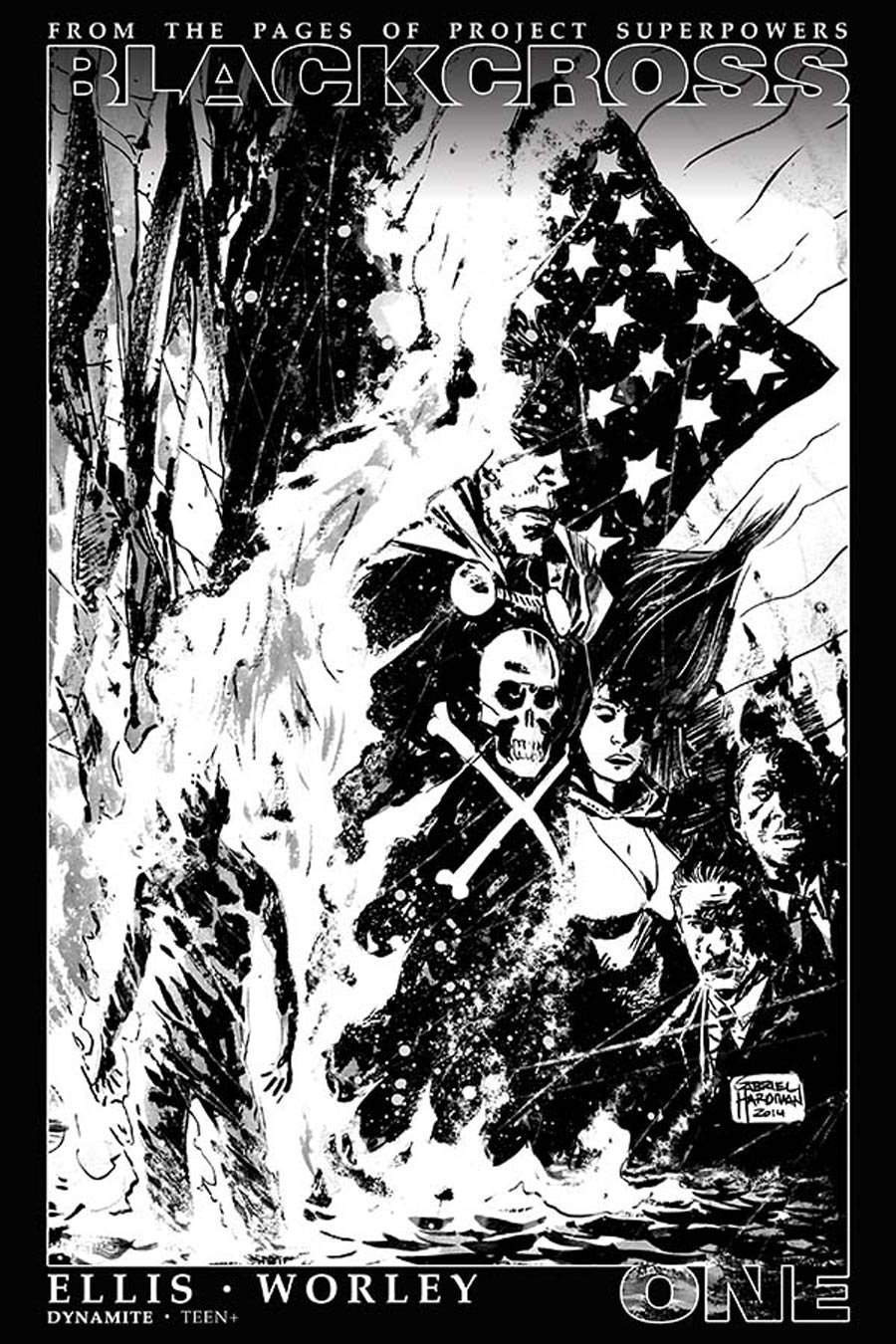 Project Superpowers Blackcross #1 Cover K Incentive Gabriel Hardman Black & White Cover