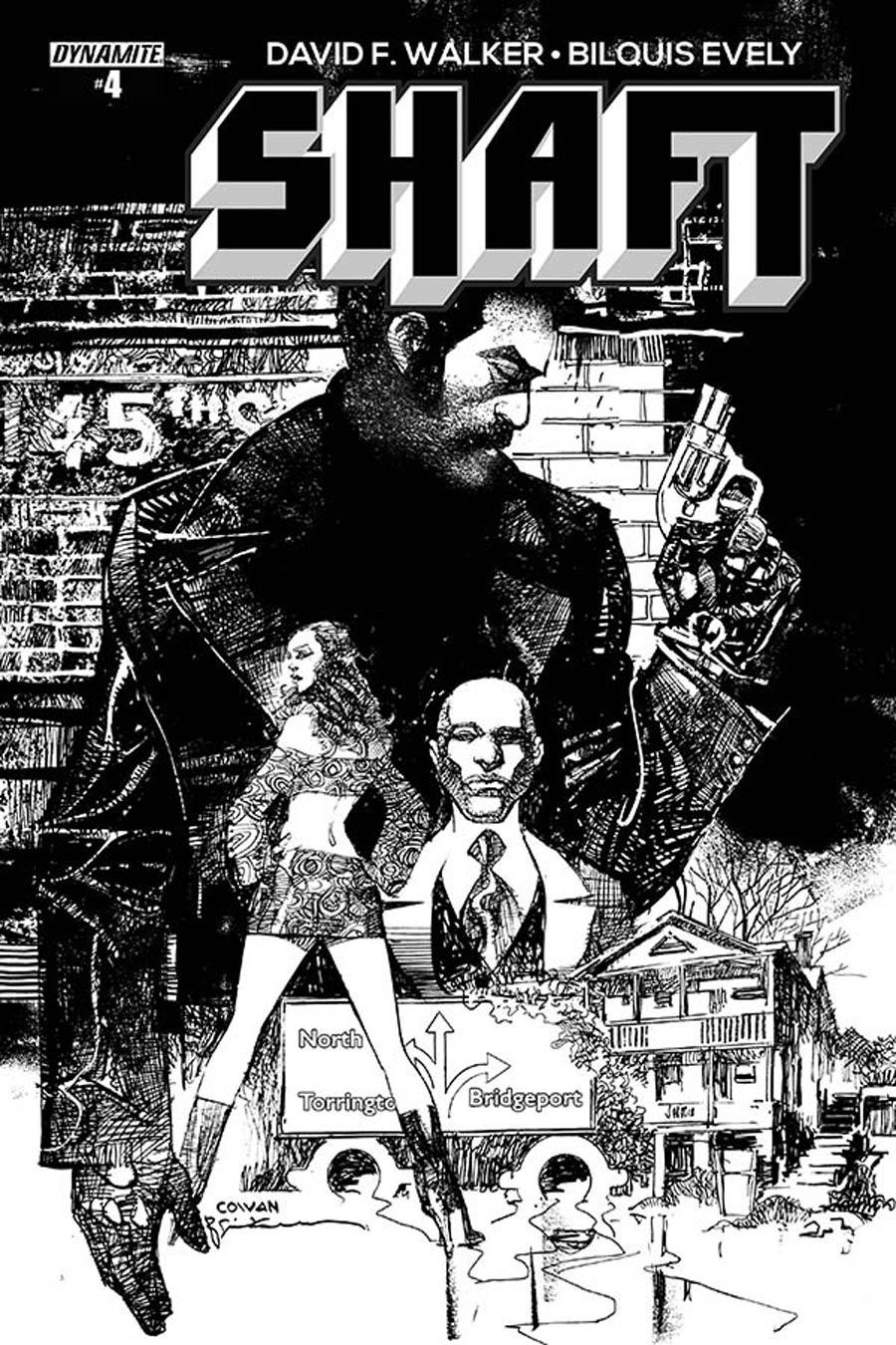 Shaft #4 Cover D Incentive Dennis Cowan & Bill Sienkiewicz Black & White Cover