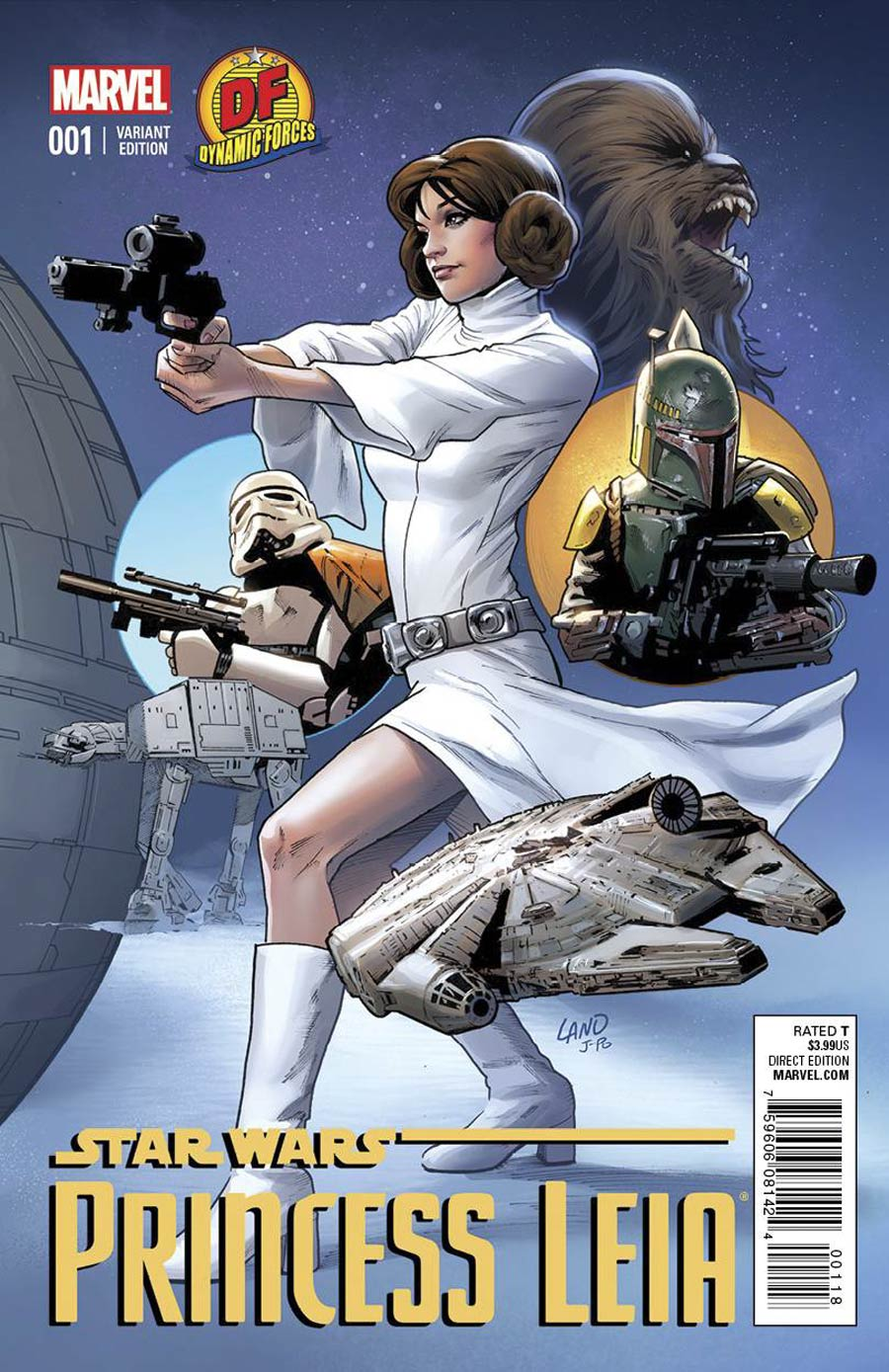 Princess Leia #1 Cover Z-K DF Exclusive Greg Land Connecting Color Variant Cover Lightsaber Silver Signed Edition By Terry Dodson