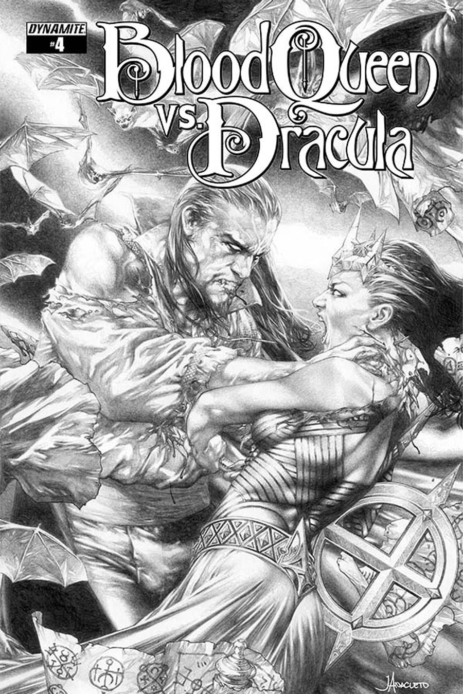 Blood Queen vs Dracula #4 Cover C Incentive Jay Anacleto Black & White Cover