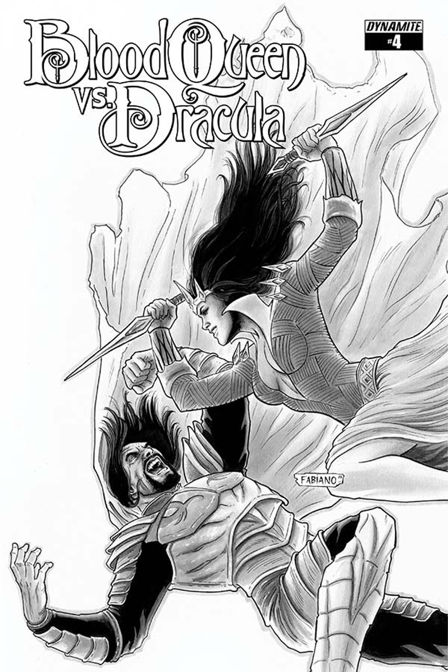 Blood Queen vs Dracula #4 Cover D Incentive Fabiano Neves Black & White Cover