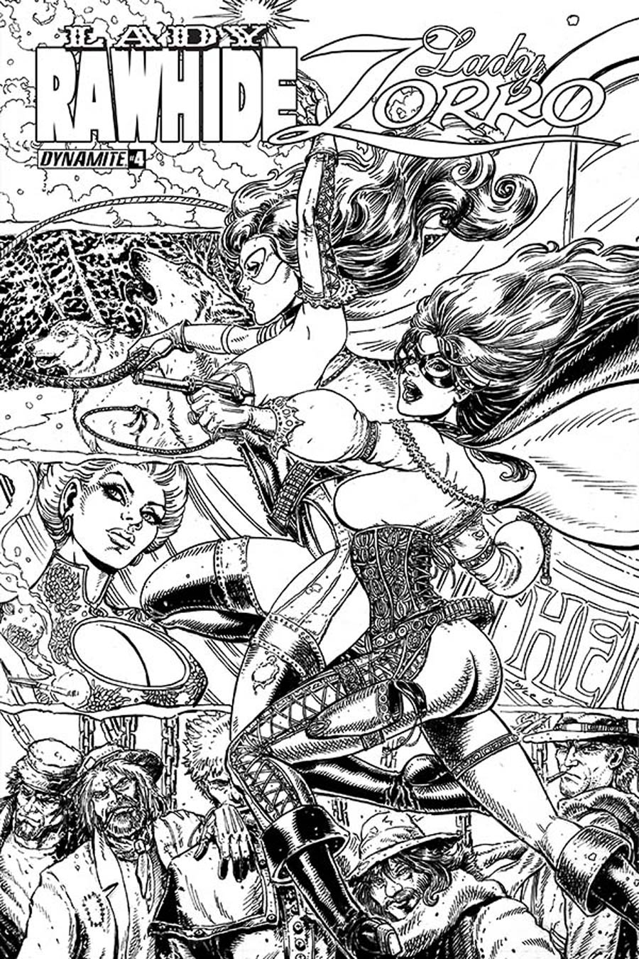 Lady Rawhide Lady Zorro #4 Cover B Incentive Joyce Chin Black & White Cover