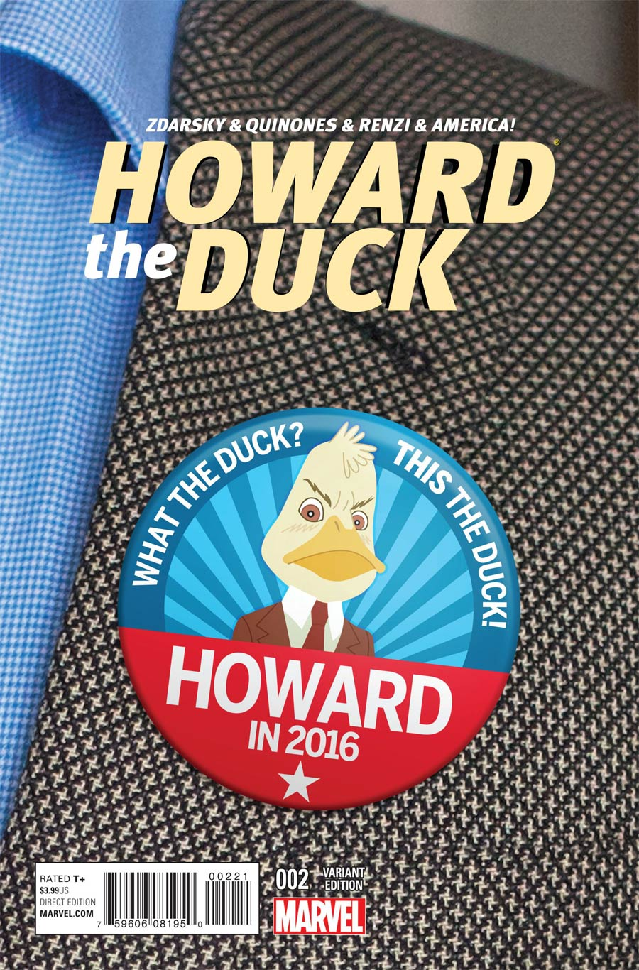 Howard The Duck Vol 4 #2 Cover B Incentive Chip Zdarsky Vote Howard Variant Cover