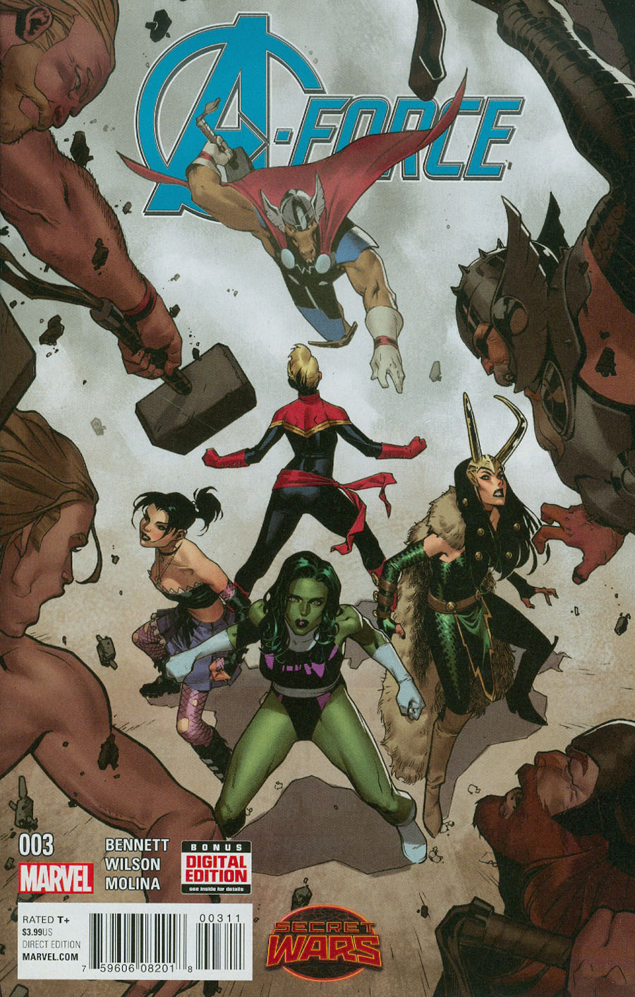 A-Force #3 Cover A Regular Jorge Molina Cover (Secret Wars Warzones Tie-In)