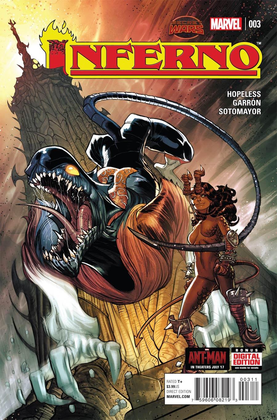 Inferno #3 Cover A Regular Javier Garron Cover (Secret Wars Warzones Tie-In)
