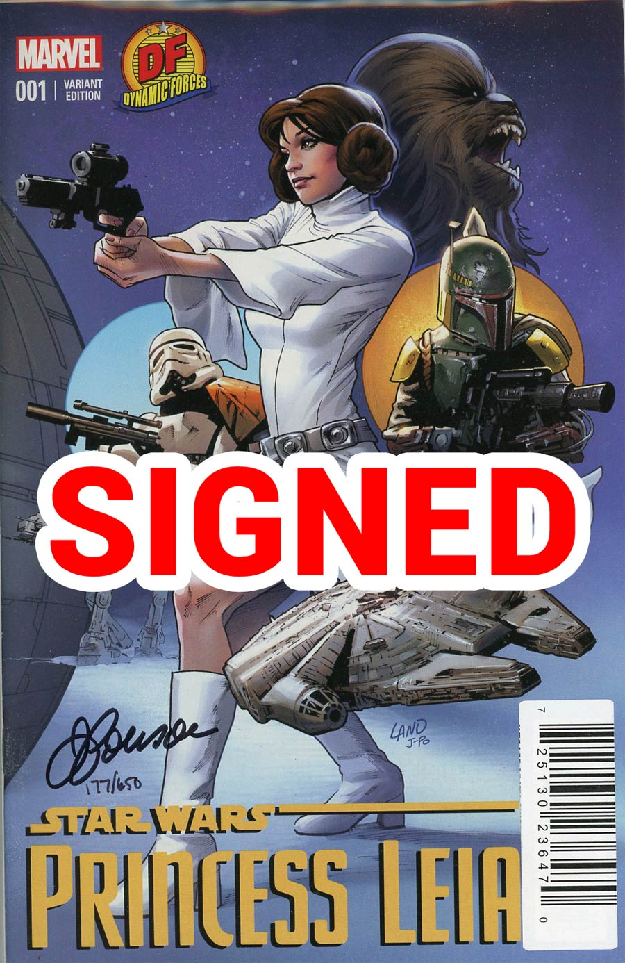 Princess Leia #1 Cover Z-M DF Exclusive Greg Land Variant Cover Signed By Justin Ponsor