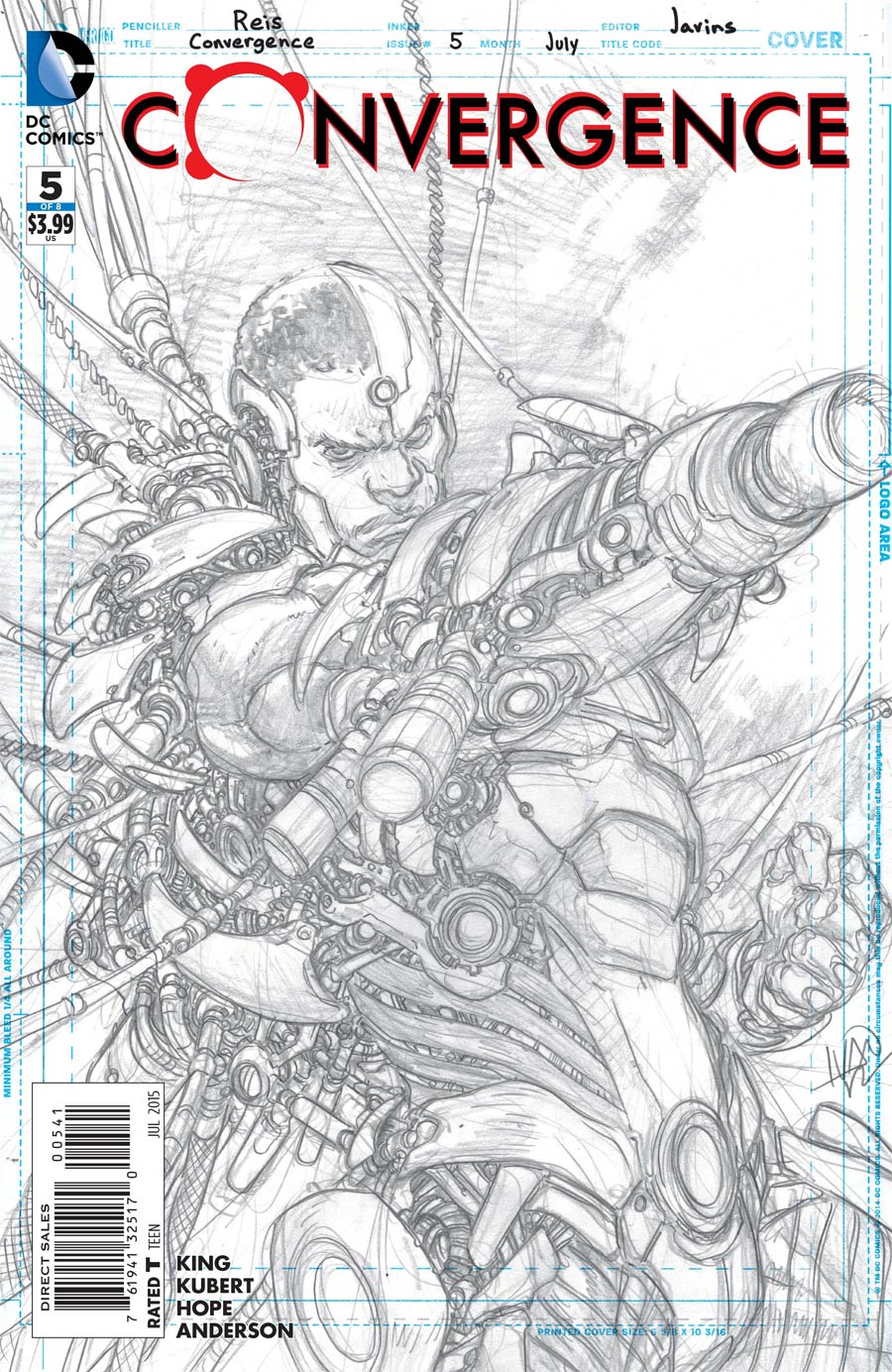 Convergence #5 Cover D Incentive Ivan Reis Cyborg Sketch Variant Cover