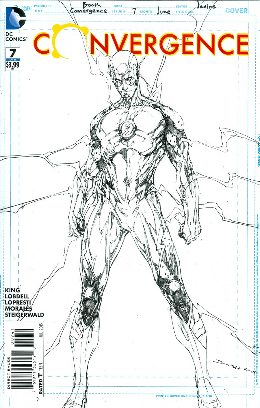 Convergence #7 Cover D Incentive Brett Booth Flash Sketch Variant Cover