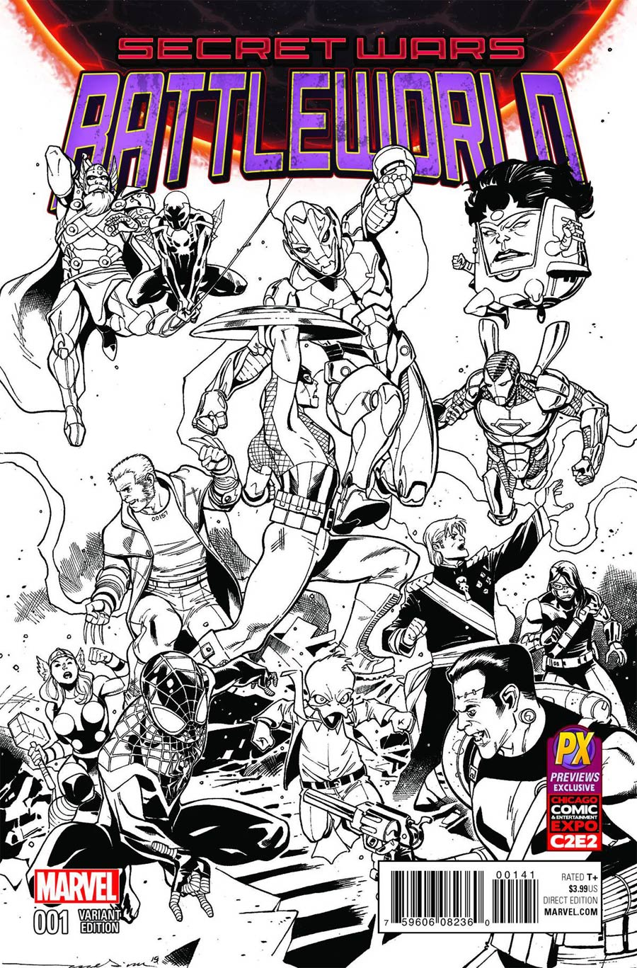 Secret Wars Battleworld #1 Cover E Paco Medina C2E2 Previews Exclusive Inked Variant Cover