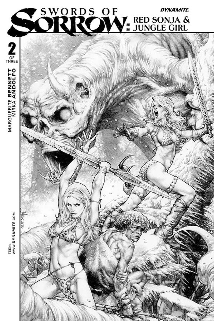 Swords Of Sorrow Red Sonja & Jungle Girl #2 Cover B Incentive Jay Anacleto Black & White Cover
