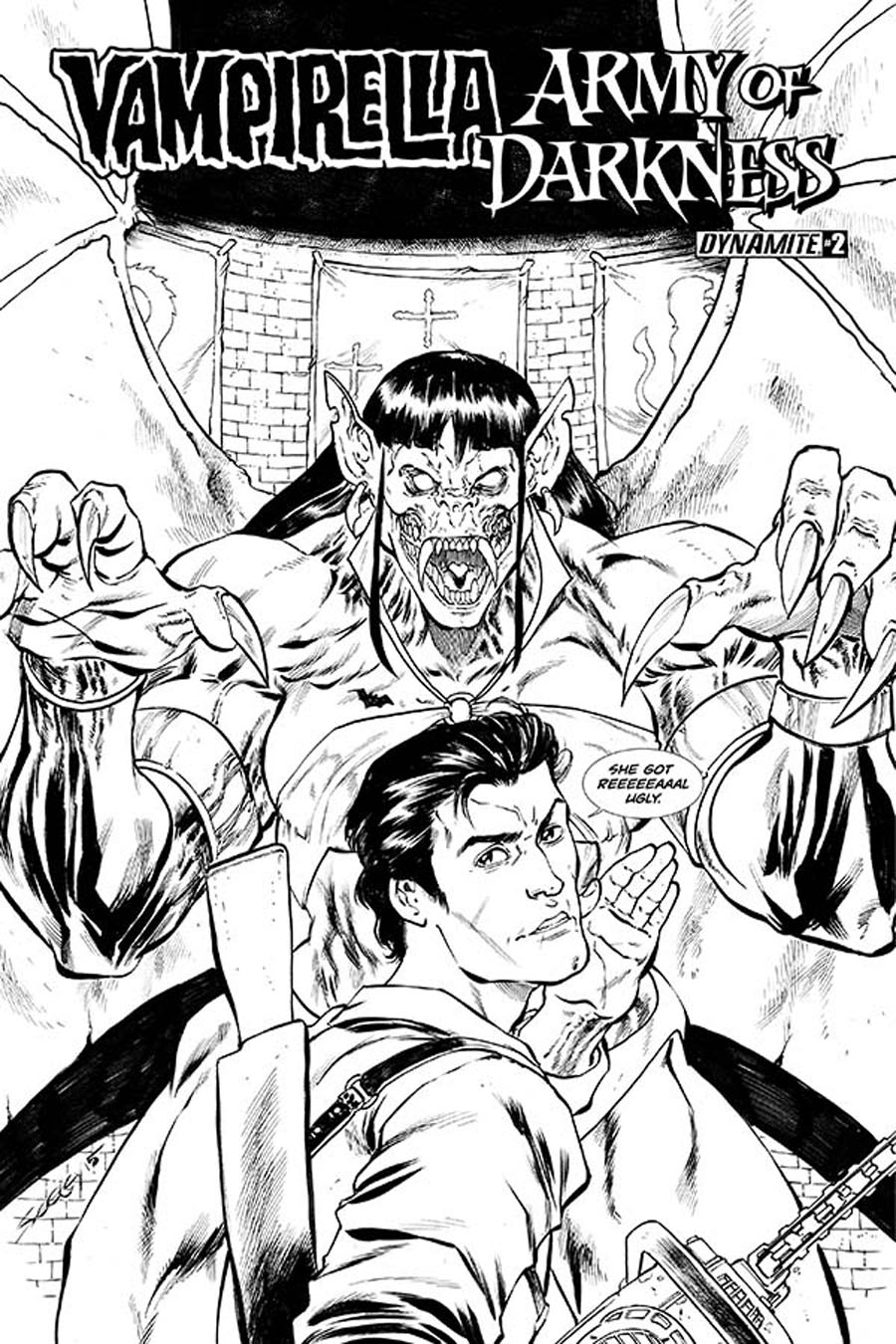 Vampirella Army Of Darkness #2 Cover C Incentive Tim Seeley Black & White Cover