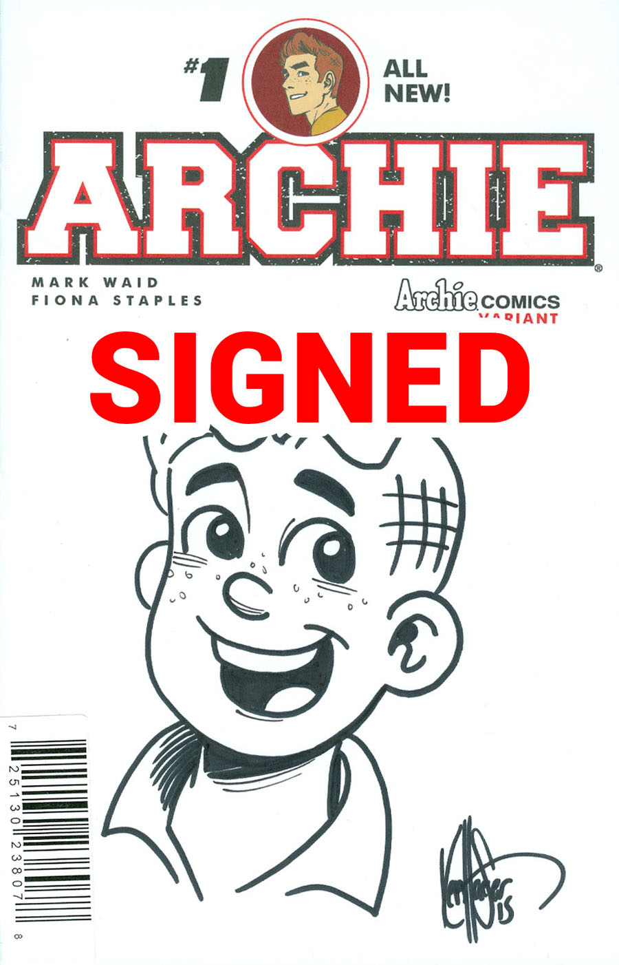 Archie Vol 2 #1 Cover Z-D DF Ken Haeser Signed & Remarked With A Classic Archie Hand-Drawn Sketch Variant Cover