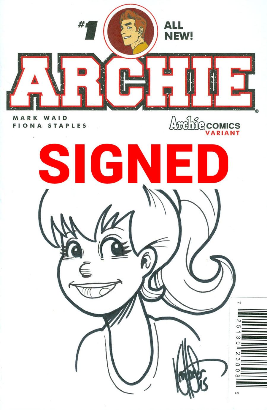 Archie Vol 2 #1 Cover Z-E DF Ken Haeser Signed & Remarked With A Classic Betty Hand-Drawn Sketch Variant Cover