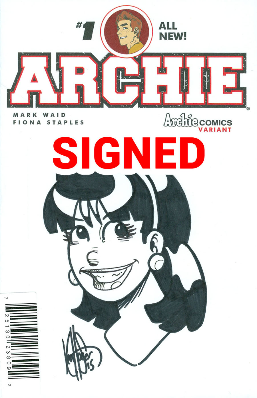 Archie Vol 2 #1 Cover Z-F DF Ken Haeser Signed & Remarked With A Classic Veronica Hand-Drawn Sketch Variant Cover