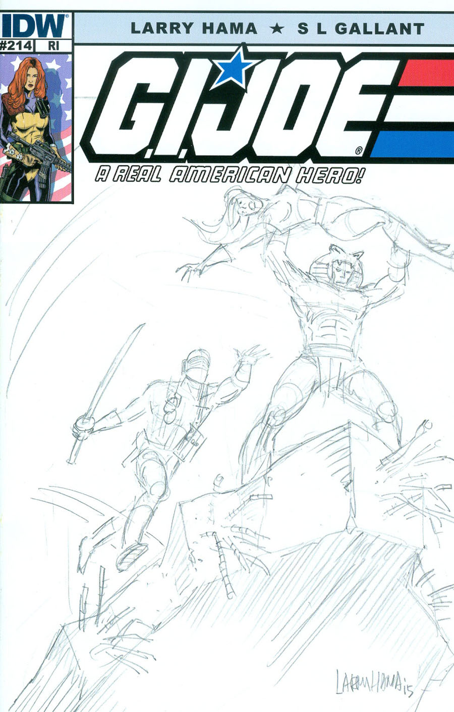 GI Joe A Real American Hero #214 Cover C Incentive Larry Hama Sketch Variant Cover