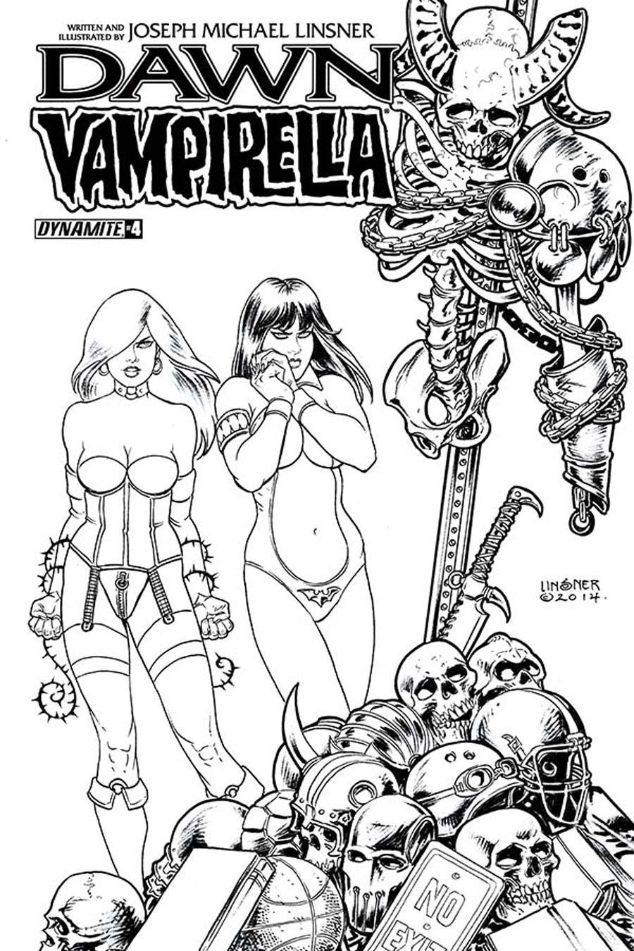 Dawn Vampirella #4 Cover B Incentive Joseph Michael Linsner Black & White Cover