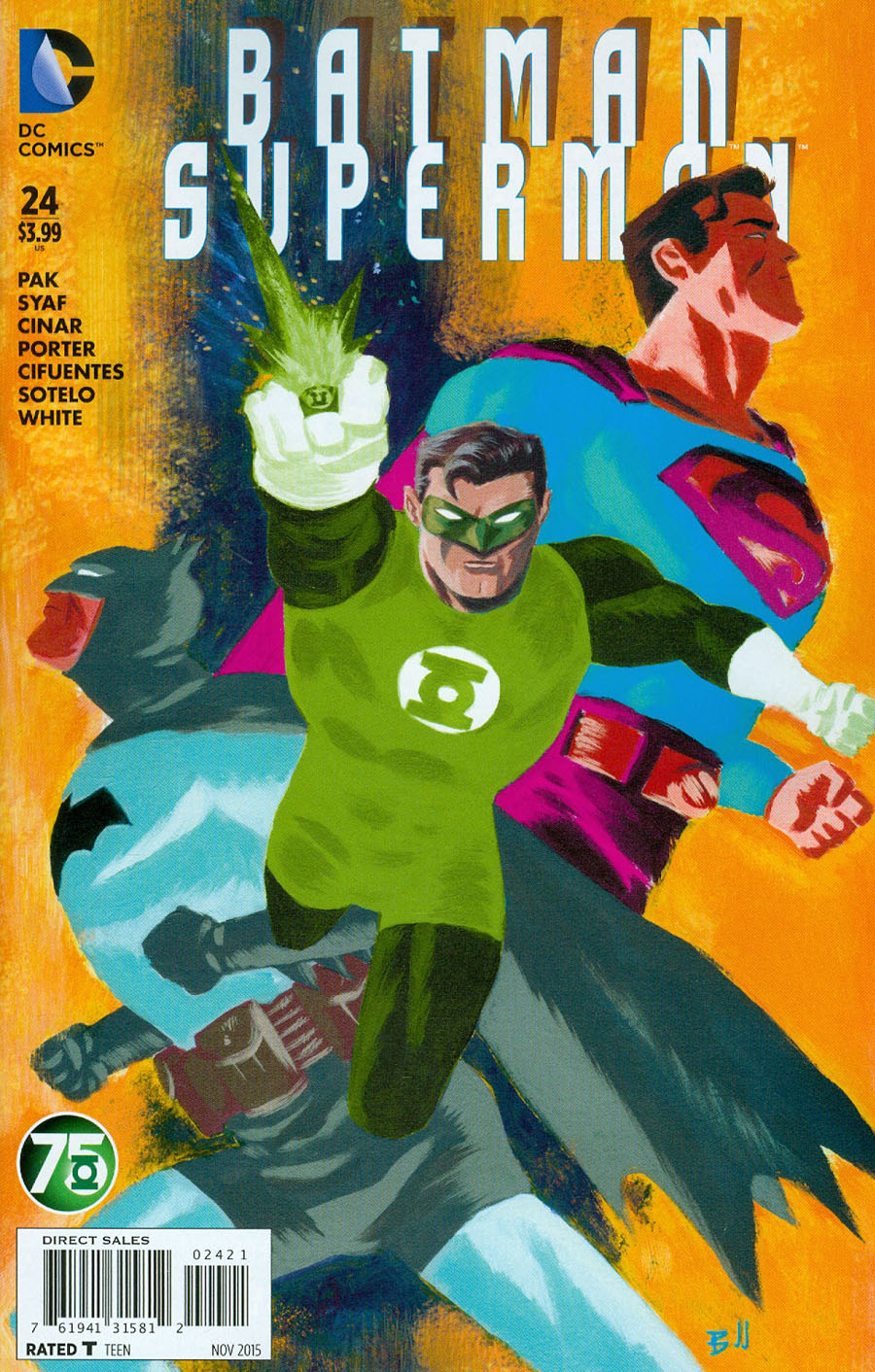 Batman Superman #24 Cover B Variant Dave Bullock Green Lantern 75th Anniversary Cover (Truth Tie-In)