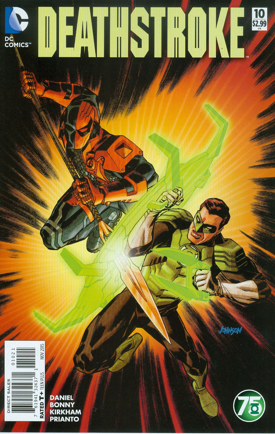 Deathstroke Vol 3 #10 Cover B Variant Dave Johnson Green Lantern 75th Anniversary Cover