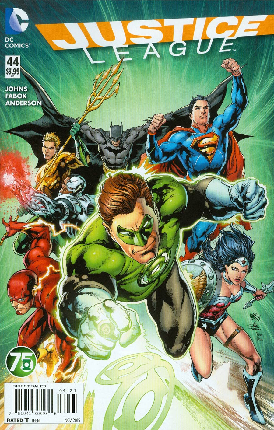 Justice League Vol 2 #44 Cover B Variant Ivan Reis Green Lantern 75th Anniversary Cover