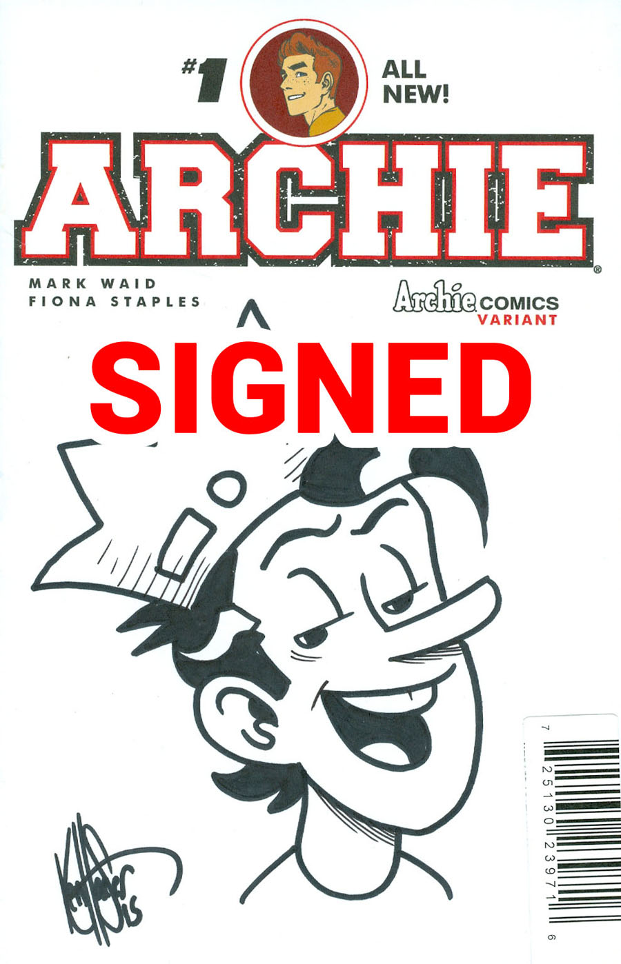 Archie Vol 2 #1 Cover Z-G DF Ken Haeser Signed & Remarked With A Classic Jughead Hand-Drawn Sketch Variant Cover