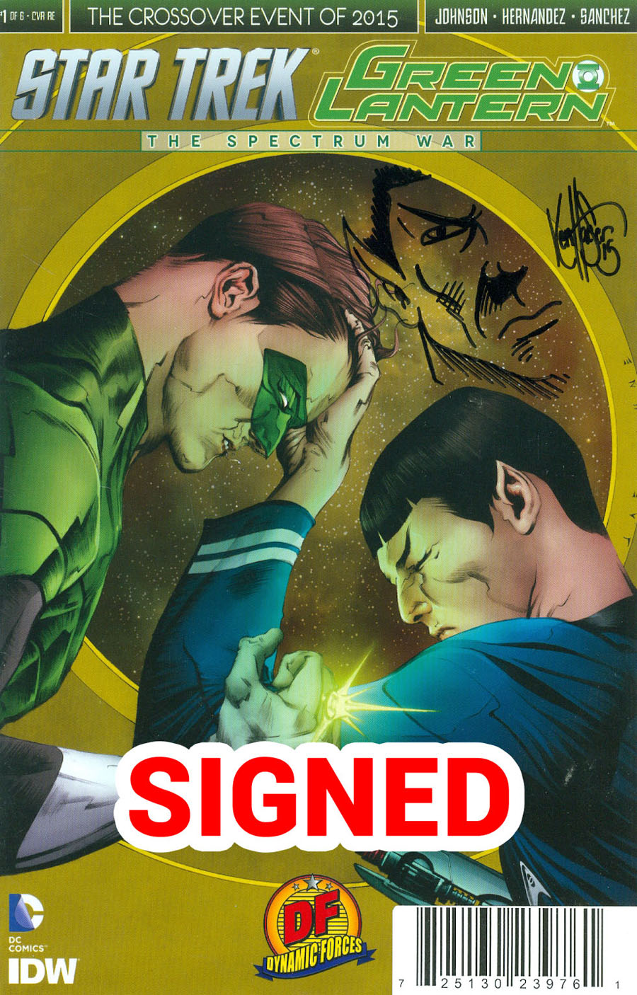 Star Trek Green Lantern #1 Cover N DF Exclusive Ken Haeser Signed & Remarked With A Spock Hand-Drawn Sketch Variant Cover