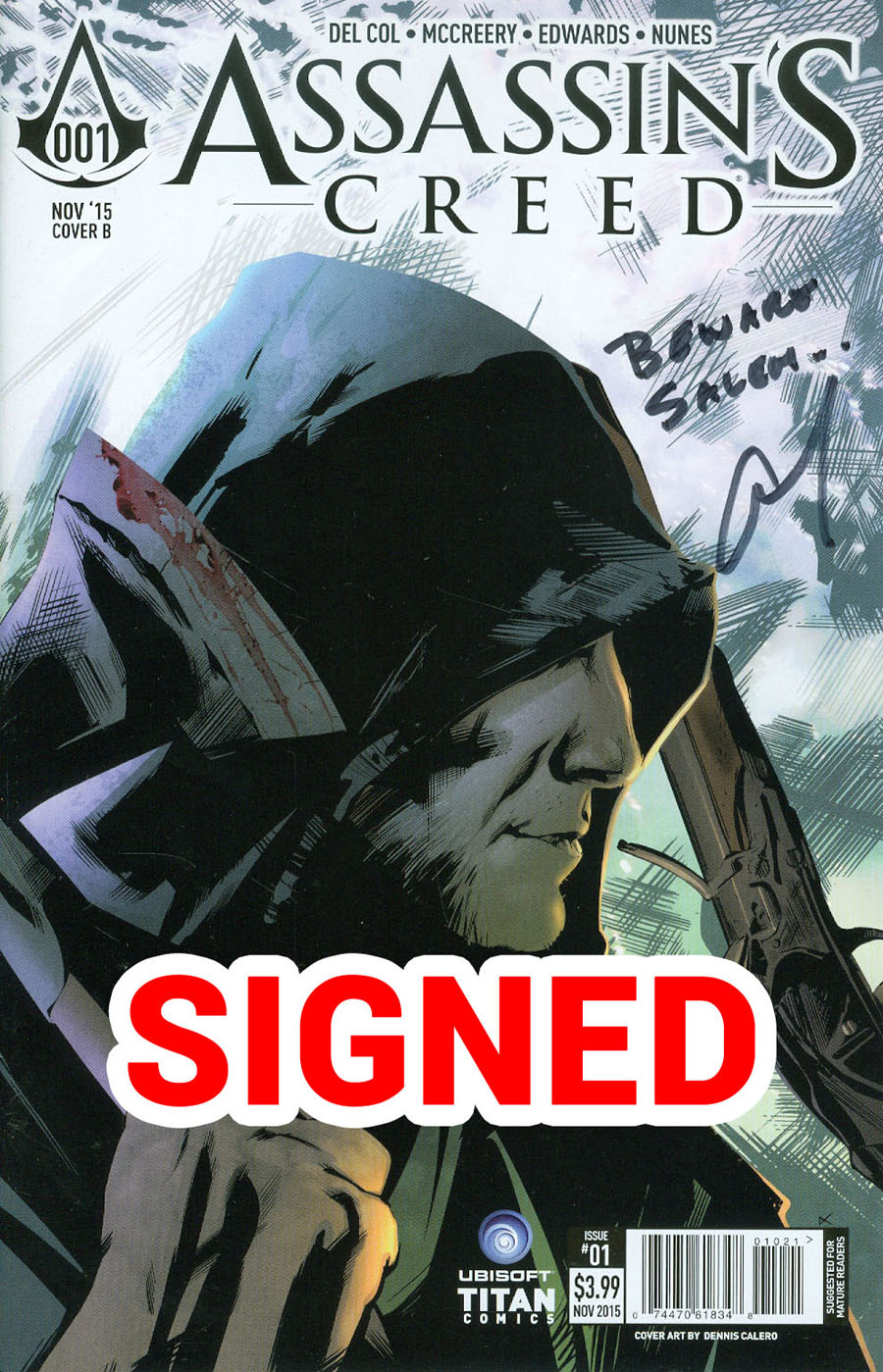 Assassins Creed #1 Cover H Variant Dennis Calero Subscription Cover Signed By Anthony Del Col