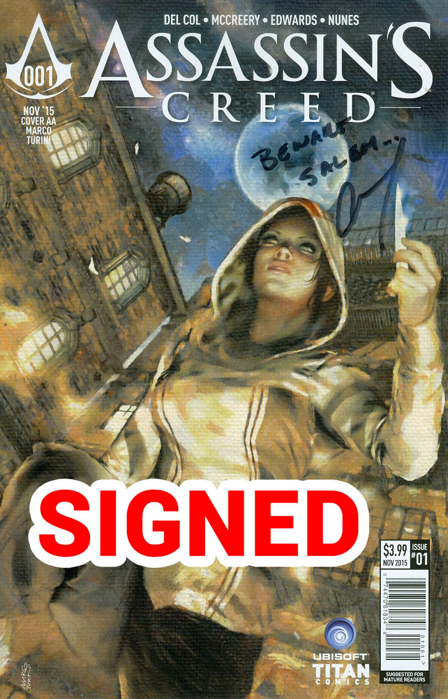 Assassins Creed #1 Cover J Variant Marco Turini Cover Signed By Anthony Del Col