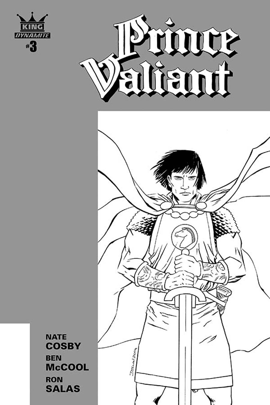 King Prince Valiant #3 Cover B Incentive Declan Shalvey Black & White Cover