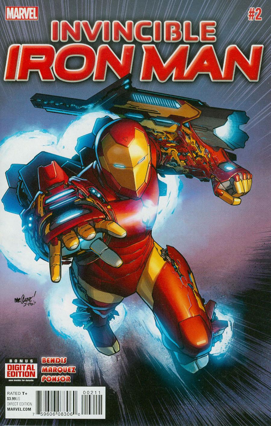 Invincible Iron Man Vol 2 #2 Cover A Regular David Marquez Cover