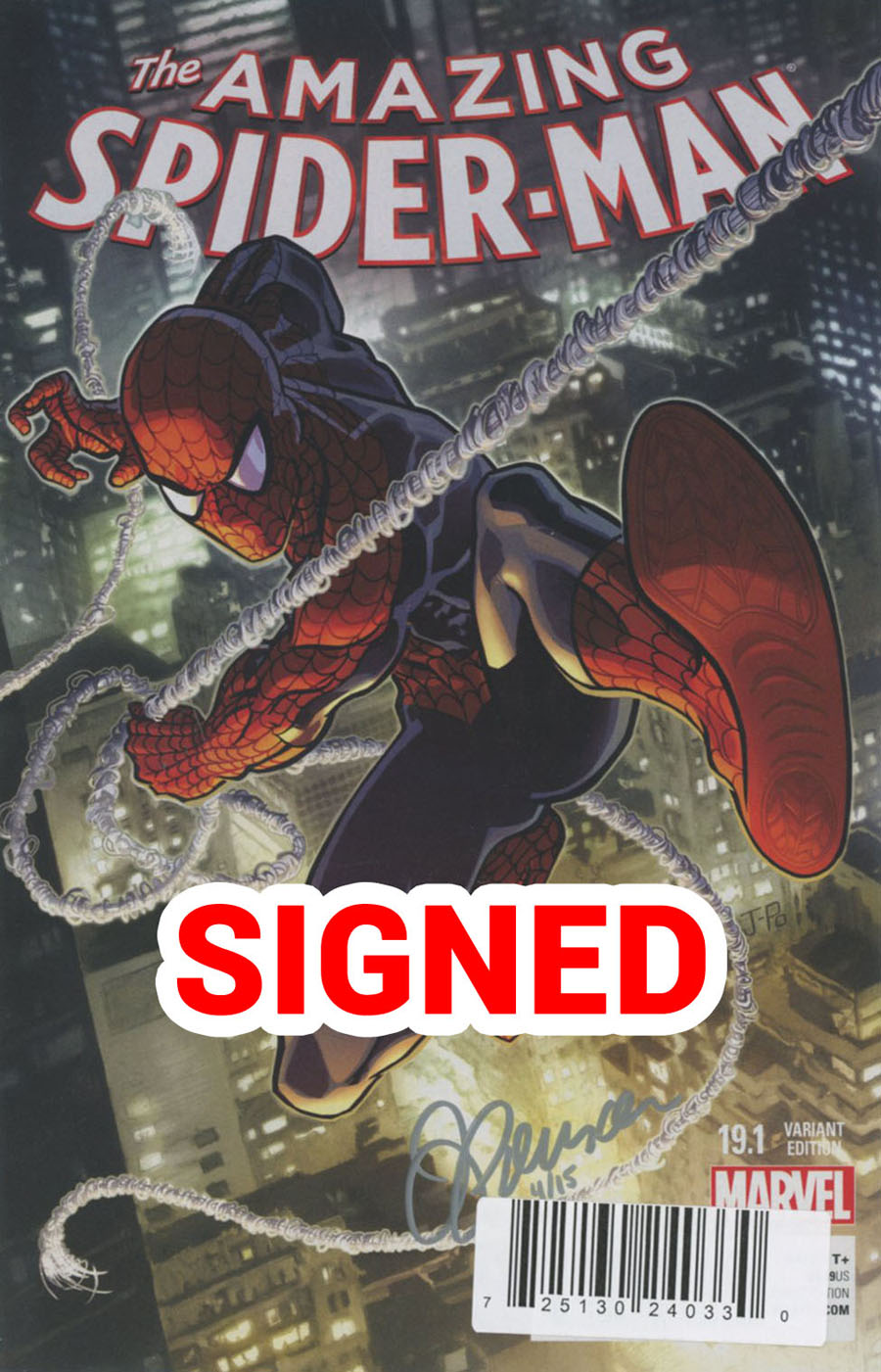 Amazing Spider-Man Vol 3 #19.1 Cover C DF Ultra-Limited Webslinger Silver Signature Series Signed By Justin Ponsor