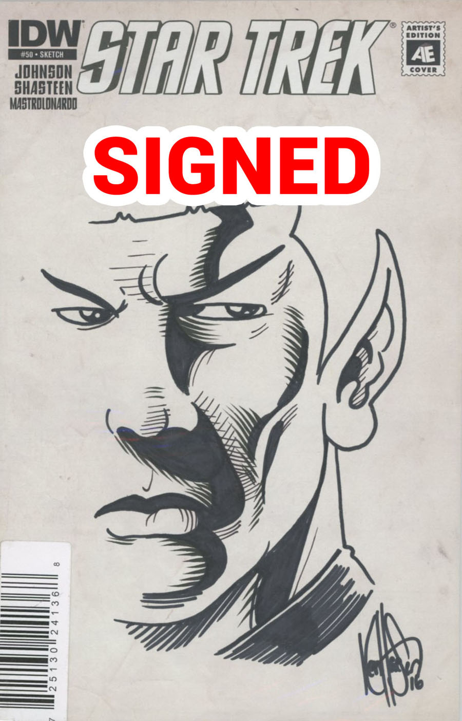 Star Trek (IDW) #50 Cover E DF Artists Edition Signed & Remarked By Ken Haeser Sketch Variant Cover