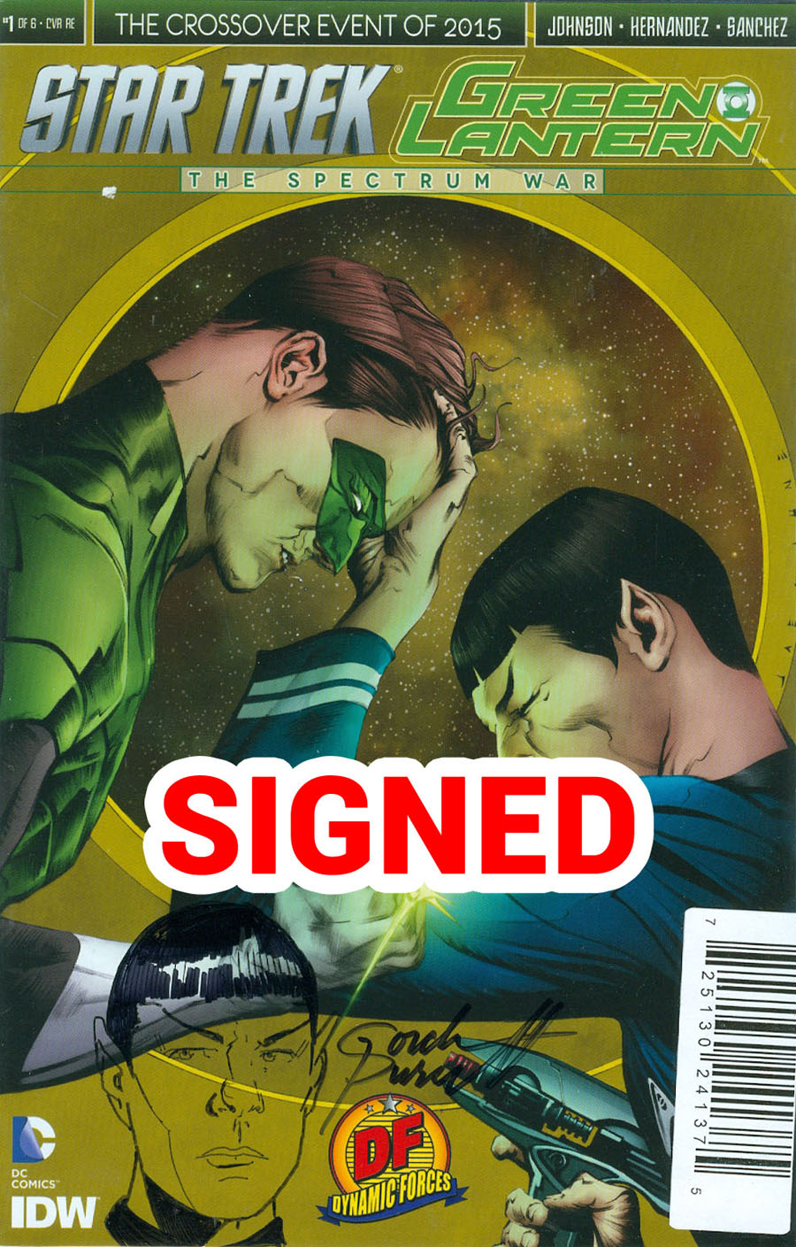 Star Trek Green Lantern #1 Cover O DF Exclusive Jae Lee Variant Cover With A Hand-Drawn Spock Head Sketch By Gordon Purcell