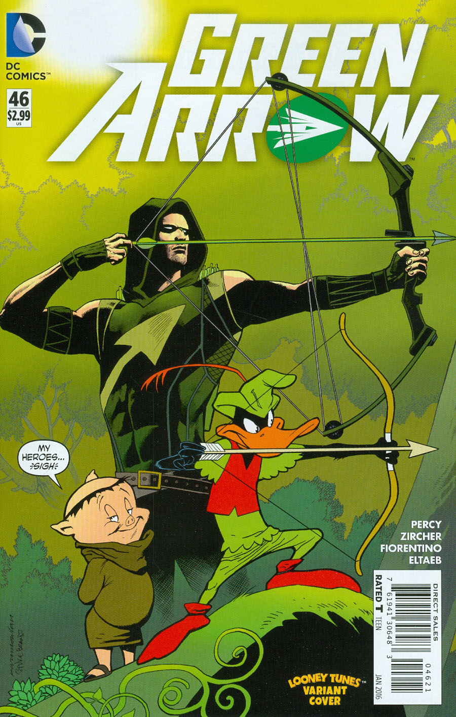 Green Arrow Vol 6 #46 Cover B Variant Kevin Nowlan & Warner Bros Animation DC x Looney Tunes Cover