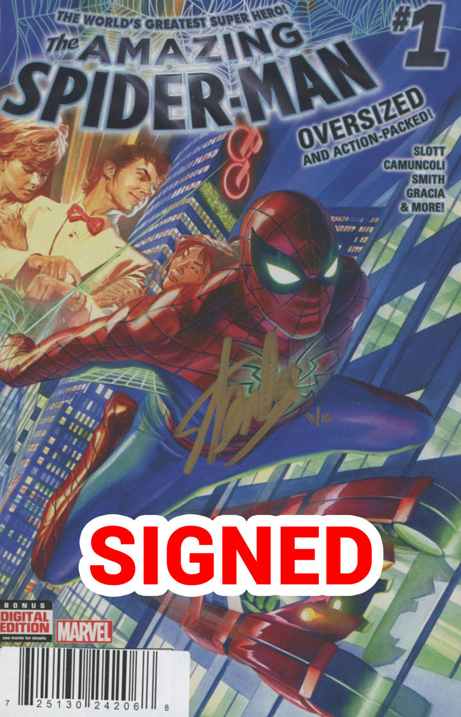 Amazing Spider-Man Vol 4 #1 Cover N DF Ultra-Limited Gold Elite Signature Series Signed By Stan Lee