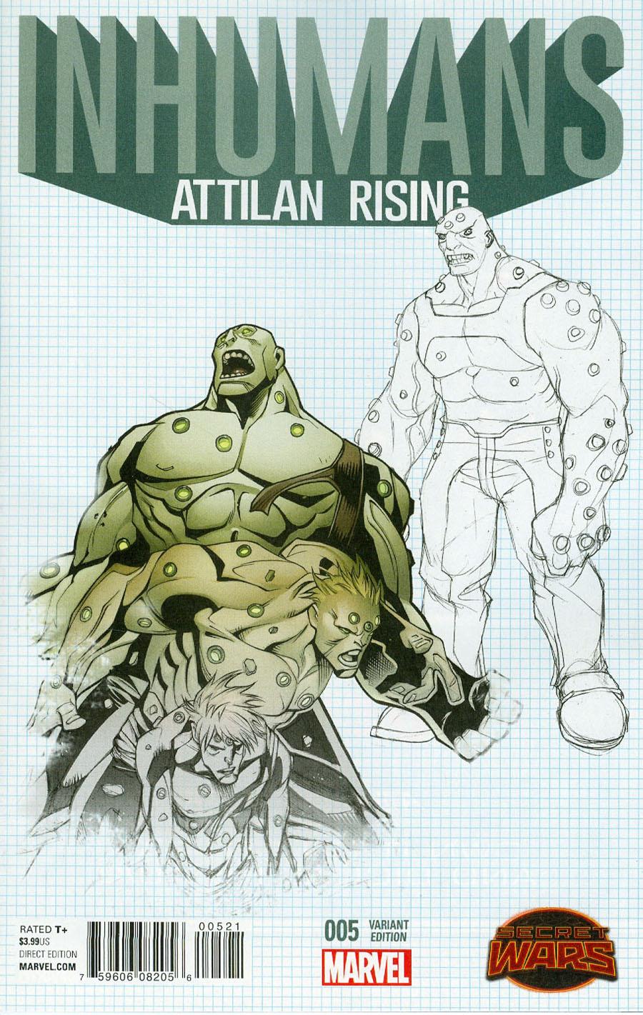 Inhumans Attilan Rising #5 Cover B Incentive Dave Johnson Design Variant Cover (Secret Wars Battleworld Tie-In)