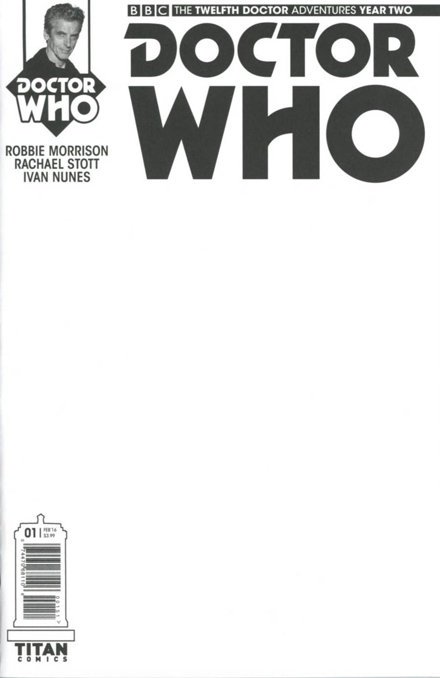 Doctor Who 12th Doctor Year Two #1 Cover E Variant Blank Cover