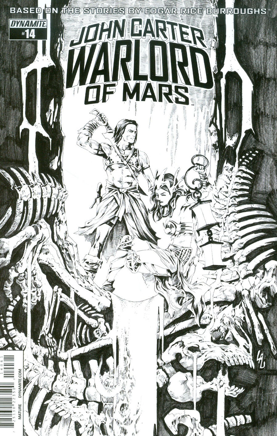 John Carter Warlord Of Mars Vol 2 #14 Cover F Incentive Jonathan Lau Black & White Cover
