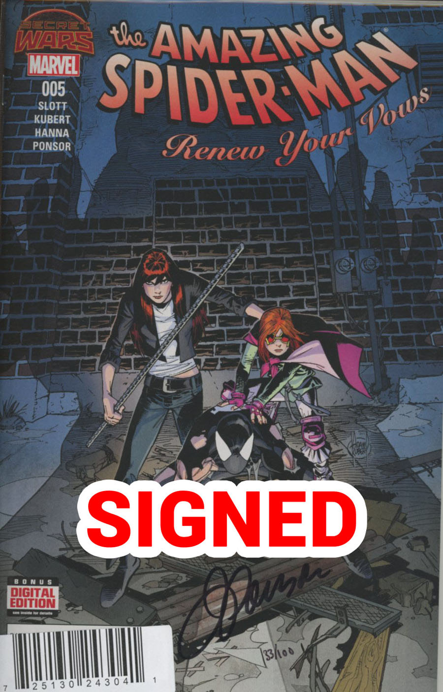 Amazing Spider-Man Renew Your Vows #5 Cover G DF Signed By Justin Ponsor
