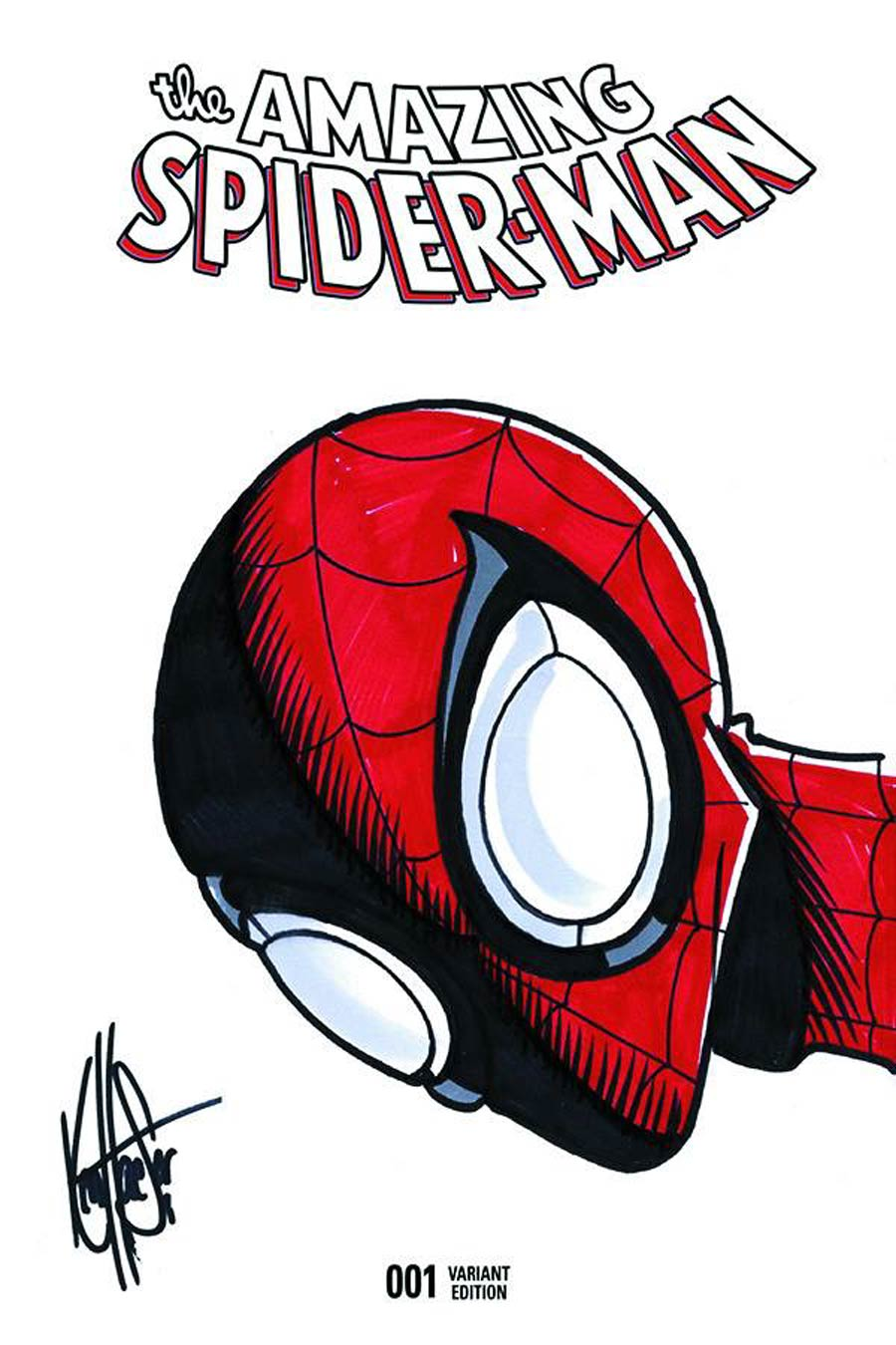Amazing Spider-Man Vol 4 #1 Cover Q Signed & Remarked By Ken Haeser