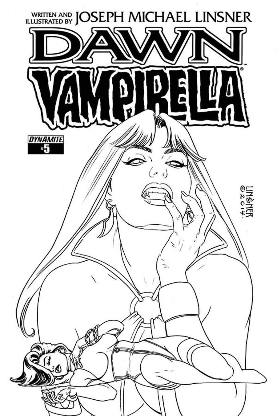 Dawn Vampirella #5 Cover B Incentive Joseph Michael Linsner Black & White Cover