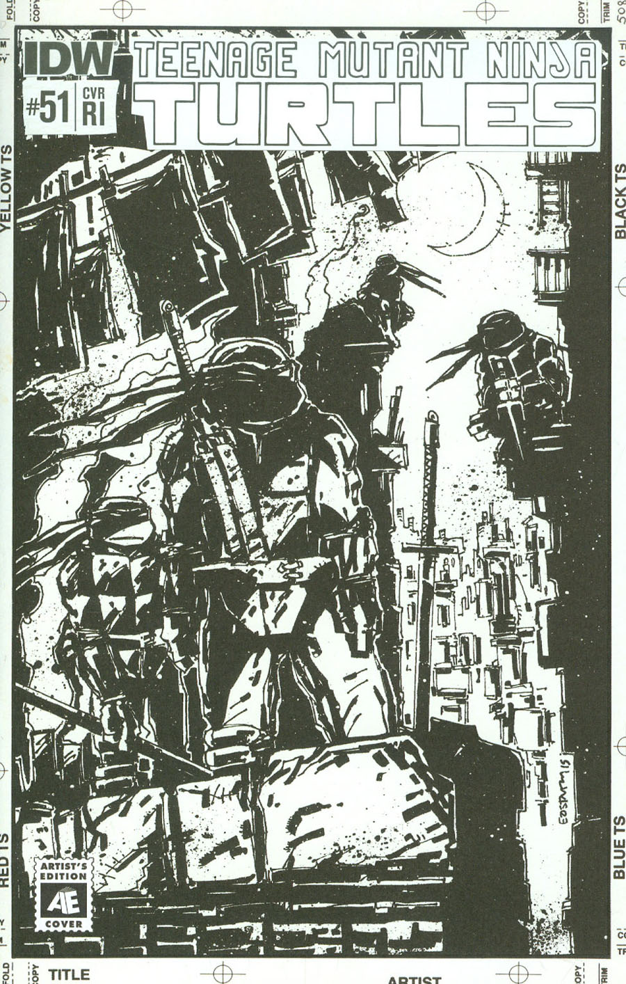 Teenage Mutant Ninja Turtles Vol 5 #51 Cover C Incentive Kevin Eastman Artists Edition Variant Cover