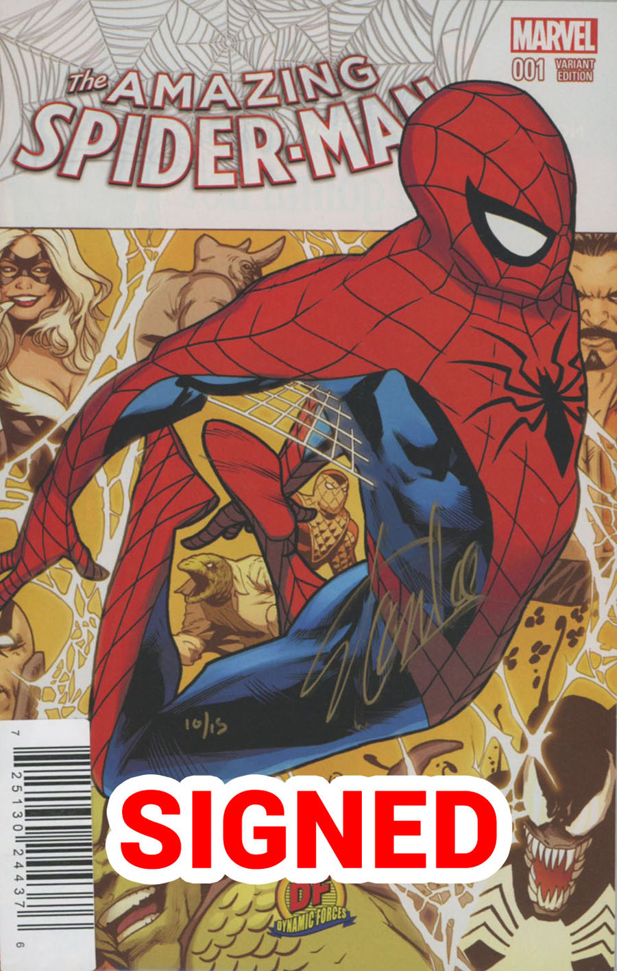 Amazing Spider-Man Vol 4 #1 Cover T DF Exclusive Greg Land Variant Cover Gold Signature Series Signed By Stan Lee
