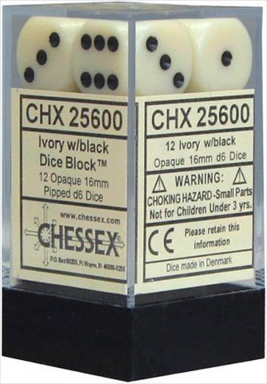 Opaque 16mm d6 Ivory/black Dice Block (12 Dice)