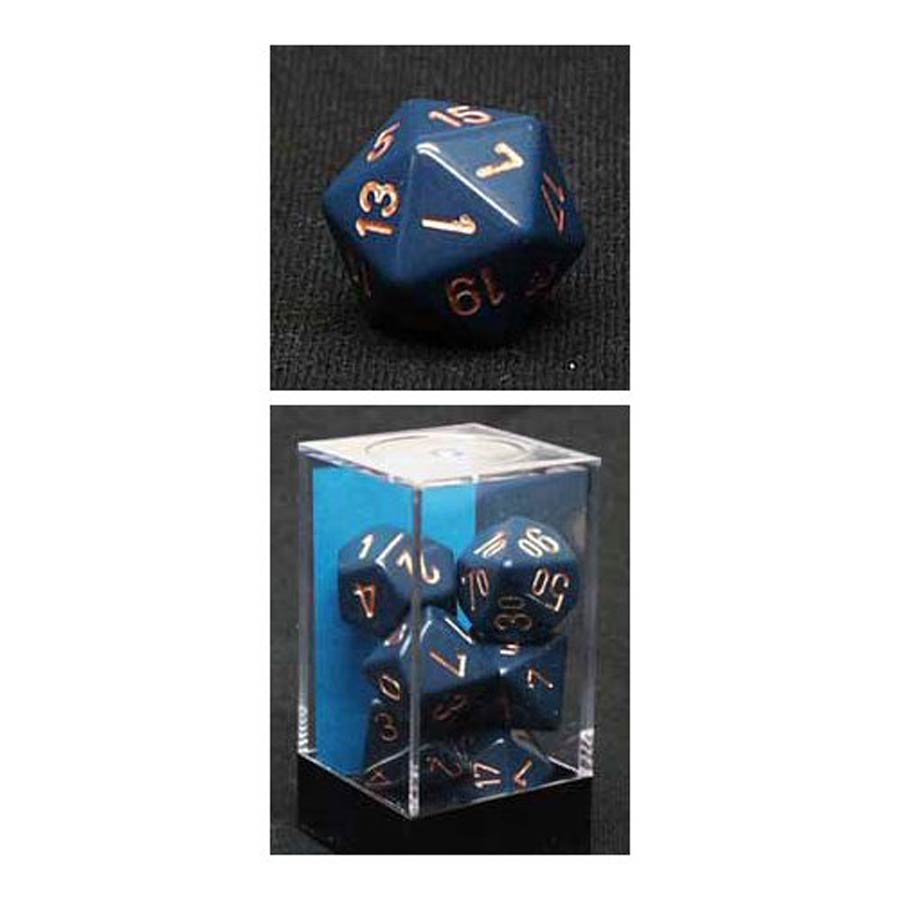 Opaque Polyhedral Dusty Blue/Copper 7-Die Set