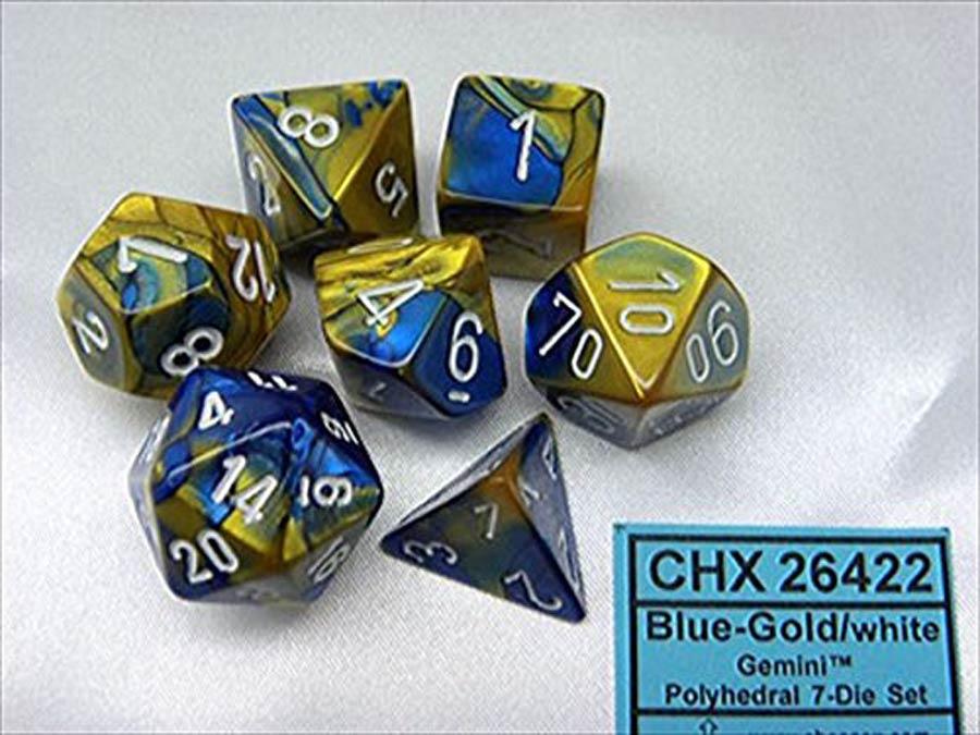 Gemini Polyhedral Blue-Gold/white 7-Die Set