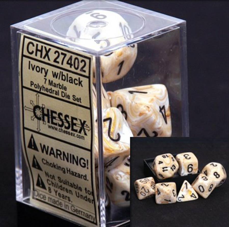 Marble Polyhedral Ivory/Black 7-Die Set