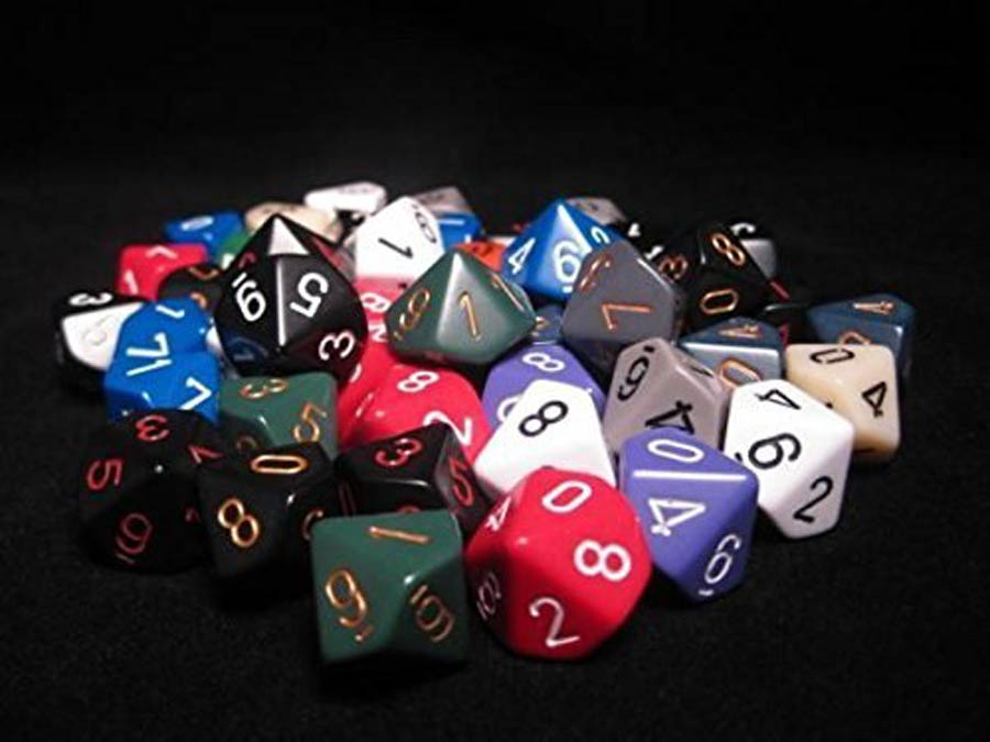 Bag of 50 Assorted Loose Opaque Polyhedral d10 Dice