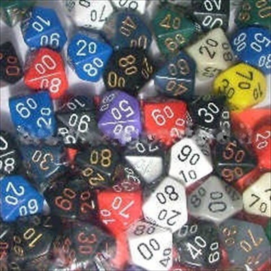 Bag of 50 Assorted Loose Opaque Polyhedral Tens 10 Dice